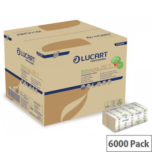 Eco Natural L-One Single 100% Recycled Disposable Napkins 30 x 30cm Pack of 6000