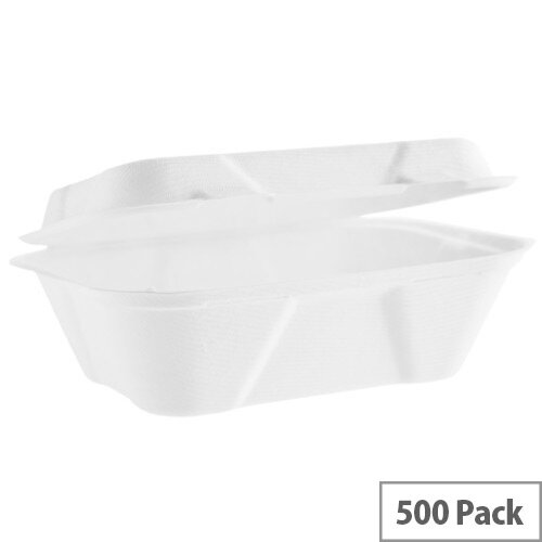 Compostable 7x5inch (20oz/600ml) Bagasse Clamshell Disposable Deep Take Away Boxes Pack of 500