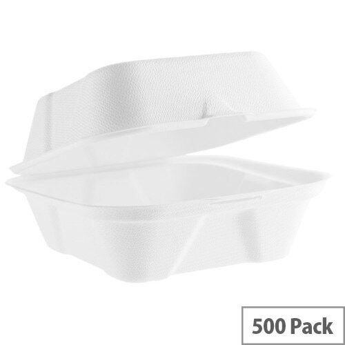 Compostable 6inch (16oz/450ml) Disposable Burger Bagasse Boxes 450ml Pack of 500