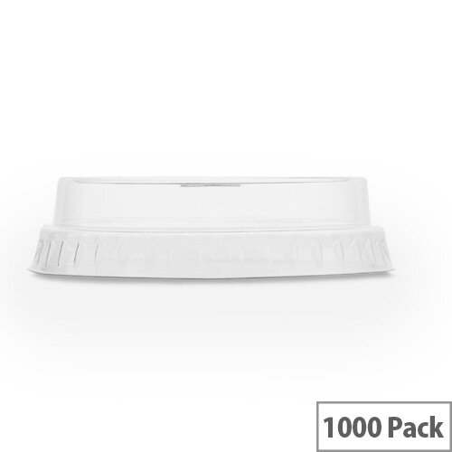Compostable Flat Lids For 7-9oz Slim Cold Drink Cups With C-Hole Straw Slot Clear Pack of 1000