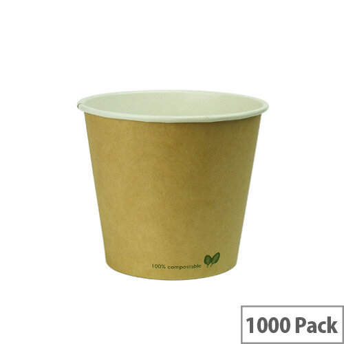 Compostable 4oz/125ml Brown Kraft Compostable Coffee Cups Disposable Hot Drink Cups Pack of 1000