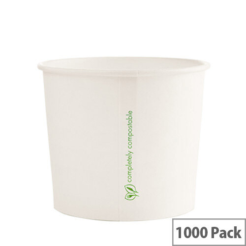 Compostable 10oz/300ml Disposable Containers for Hot or Cold Treats Ice Creams Soups Pack of 1000