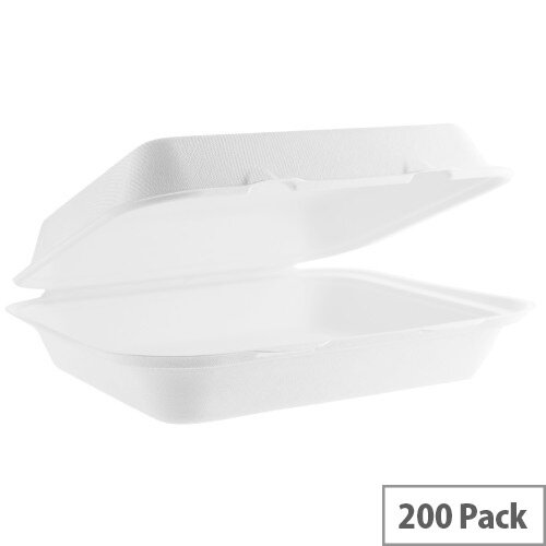 Compostable 9x8inch Bagasse Disposable Lunch Boxes Pack of 200
