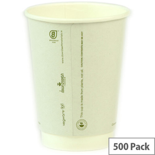 Compostable 12oz/350ml Disposable Double Wall Compostable Coffee Cups Hot Drink Cups White Pack of 500