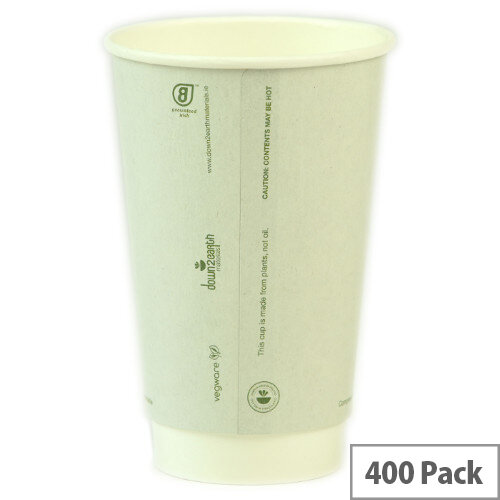 Compostable 16oz/450ml Disposable Double Wall Compostable Coffee Cups Hot Drink Cups White Pack of 400