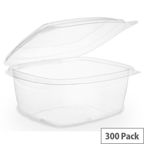 Compostable PLA 8oz Disposable Hinged Lid Deli Container Clear Pack of 300
