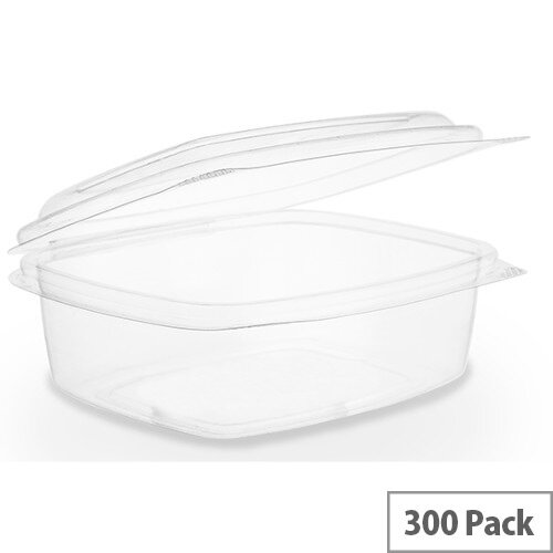 Compostable PLA 12oz Disposable Hinged Lid Deli Container Clear Pack of 300