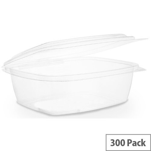 Compostable PLA 32oz Disposable Hinged Lid Deli Container Clear Pack of 300