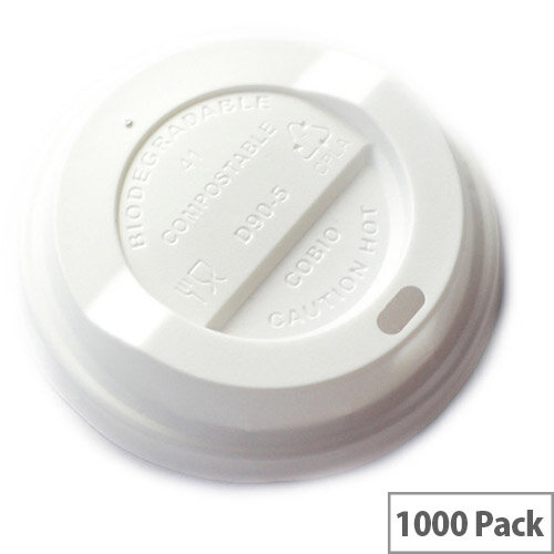 89mm Compostable CPLA Hot Cup Lids for 10-20oz Disposable Cups Pack of 1000