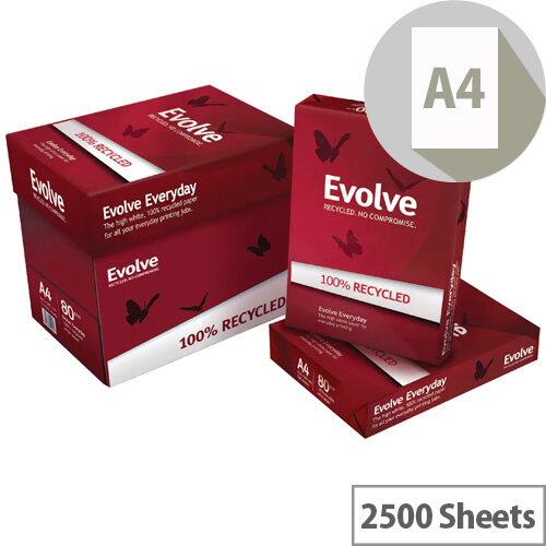 Evolve White Everyday Recycled A4 Paper 80gsm 2500 Sheets 3613630000462