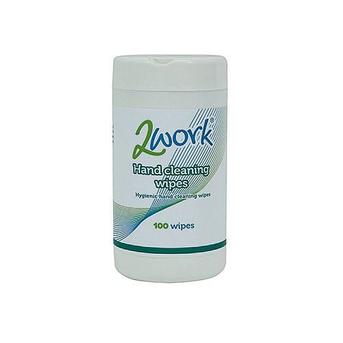 2Work Hand Cleaning Wipes Pack 1 (Tub of 100 Wipes) AHCW100TWK #C/W