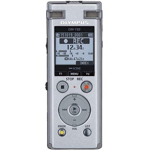 Olympus DM-720 PCM Digital Voice Recorder 4GB, MP3, Micro SD Slot, DNS, 3-Way Microphone