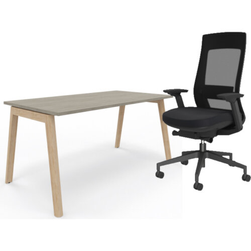 Nova Wood Home Office Desk Grey Desktop &Solid Ash Legs W1200xD700mm &X.22 Posture Office Chair with Unique Mesh Back And Adjustable Lumbar Support Black