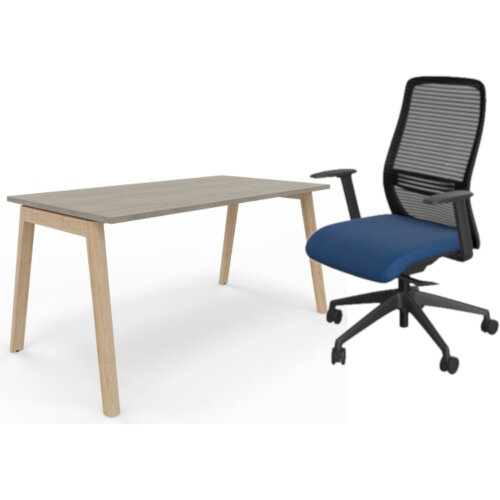 Nova Wood Home Office Desk Grey Desktop &Solid Ash Legs W1200xD700mm &NV Posture Office Chair with Contoured Mesh Back and Adjustable Lumbar Support Black Frame Navy Blue Seat