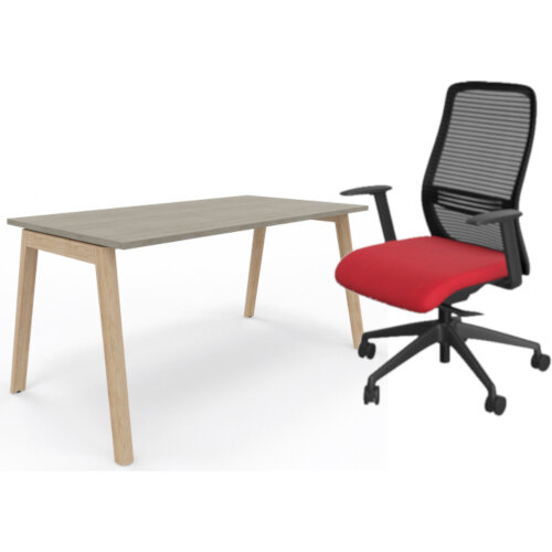 Nova Wood Home Office Desk Grey Desktop &Solid Ash Legs W1200xD700mm &NV Posture Office Chair with Contoured Mesh Back and Adjustable Lumbar Support Black Frame Red Seat
