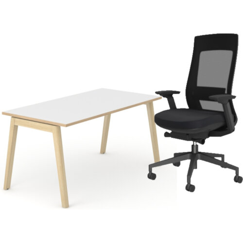 Nova Wood Home Office Desk White Desktop with Oak Edging &Solid Ash Legs W1200xD700mm &X.22 Posture Office Chair with Unique Mesh Back And Adjustable Lumbar Support Black