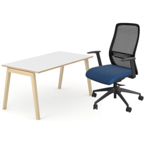Nova Wood Home Office Desk White Desktop with Oak Edging &Solid Ash Legs W1200xD700mm &NV Posture Office Chair with Contoured Mesh Back and Adjustable Lumbar Support Black Frame Navy Blue Seat