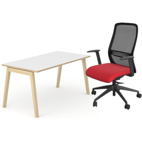 Nova Wood Home Office Desk White Desktop with Oak Edging &Solid Ash Legs W1200xD700mm &NV Posture Office Chair with Contoured Mesh Back and Adjustable Lumbar Support Black Frame Red Seat