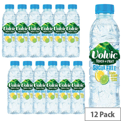 Volvic Natural Flavoured Mineral Water Touch of Fruit Lemon &Lime Fruit Sugar Free Bottled 500ml Pack of 12 122441