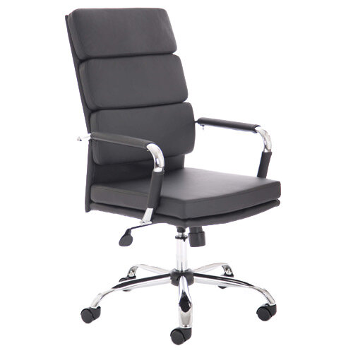 Advocate Executive Office Chair Black Bonded Leather With Arms