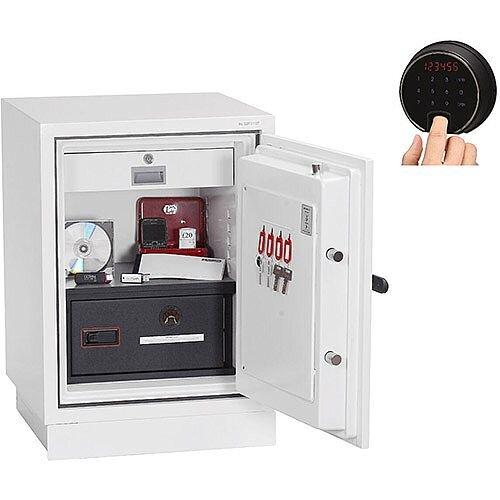 Phoenix Datacombi DS2501F Size 1 Data Safe with Fingerprint Lock White 63L 90min Fire Protection