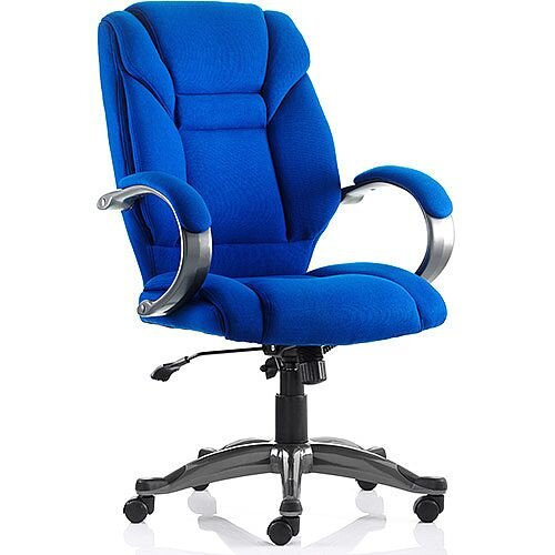Galloway Executive Office Chair Blue Fabric With Arms