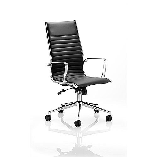 Ritz Executive Office Chair Black Bonded Leather High Back With Arms