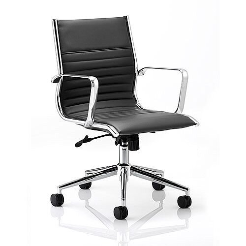 Ritz Executive Office Chair Black Bonded Leather Medium Back With Arms