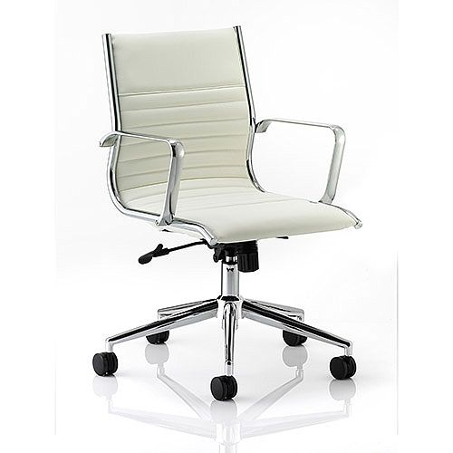 Ritz Executive Office Chair Ivory Bonded Leather Medium Back With Arms