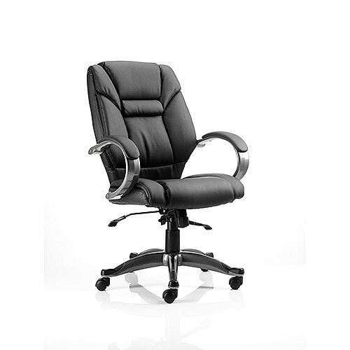 Galloway Executive Office Chair Black Leather With Arms