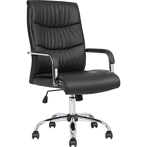 Carter Black Luxury Faux Leather Executive Office Chair With Arms