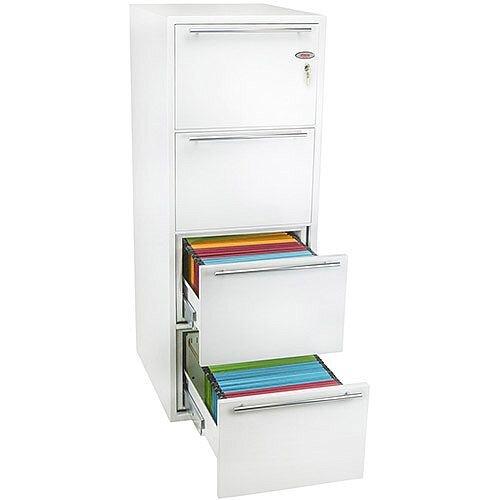 Phoenix Archivo Fire File FS2234K 4 Drawer Filing Cabinet with Key Lock White