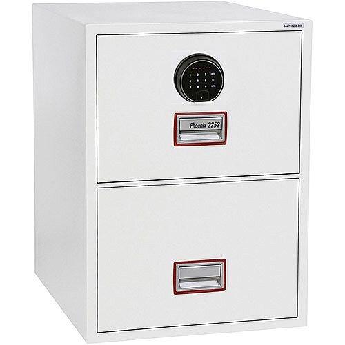 Phoenix World Class Vertical Fire File FS2252F 2 Drawer Filing Cabinet with Fingerprint Lock White