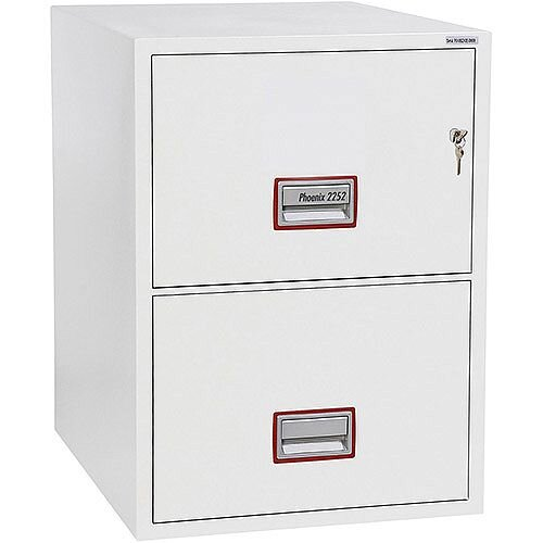 Phoenix World Class Vertical Fire File FS2252K 2 Drawer Filing Cabinet with Key Lock White