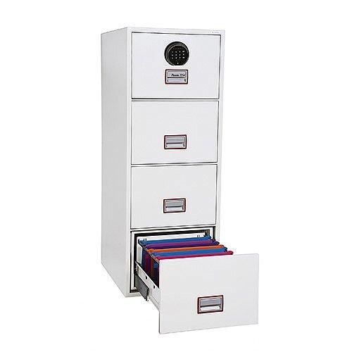 Phoenix World Class Vertical Fire File FS2264F 4 Drawer Filing Cabinet with Fingerprint Lock White