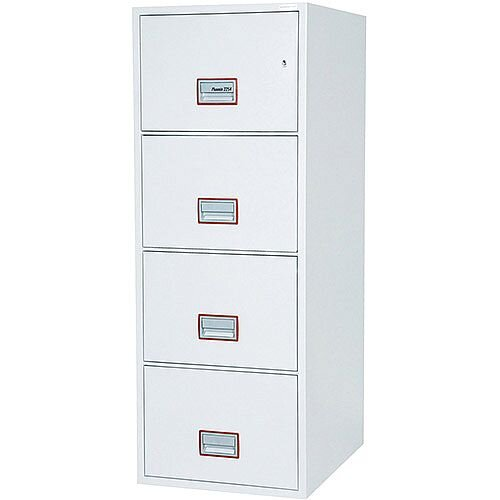 Phoenix World Class Vertical Fire File FS2264K 4 Drawer Filing Cabinet with Key Lock White