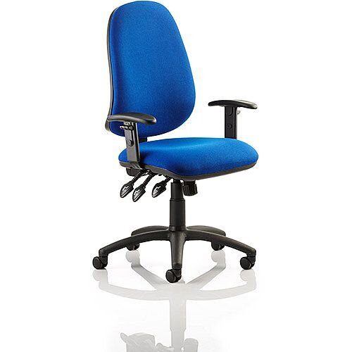 Eclipse XL III Lever Task Operator Office Chair Blue With Height Adjustable Arms