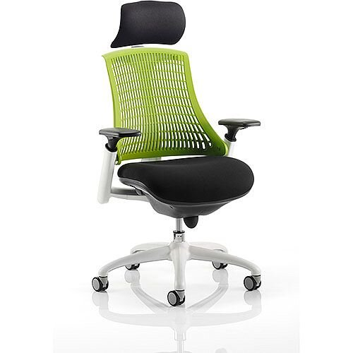Flex Task Operator Office Chair White Frame Black Fabric Seat With Green Back With Arms &Headrest