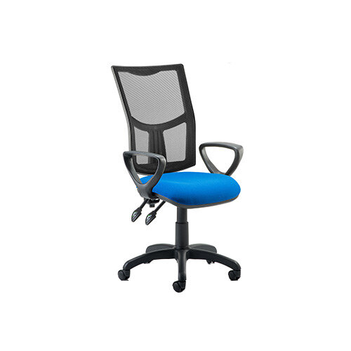 Eclipse II Lever Task Operator Office Chair Mesh Back With Blue Seat &Loop Arms