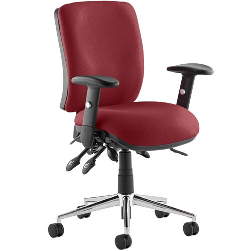 Chiro Medium Back Task Operator Office Chair Chilli Red