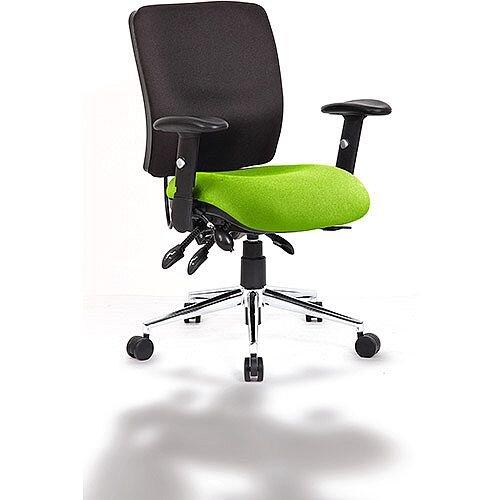 Chiro Medium Back Task Operator Office Chair Black Back &Swizzle Green Seat