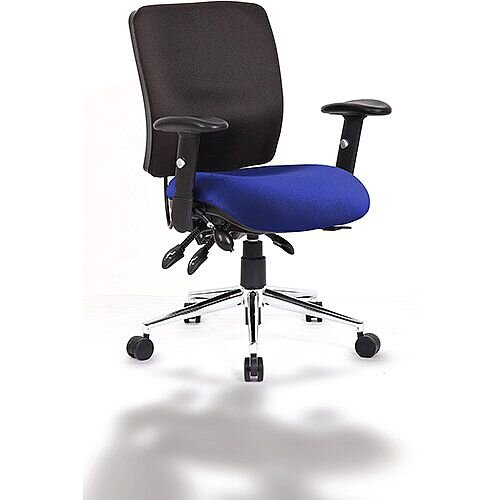 Chiro Medium Back Task Operator Office Chair Black Back &Serene Blue Seat