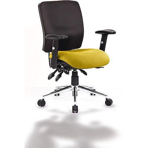 Chiro Medium Back Task Operator Office Chair Black Back &Sunset Yellow Seat