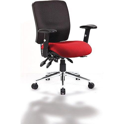 Chiro Medium Back Task Operator Office Chair Black Back &Chilli Red Seat