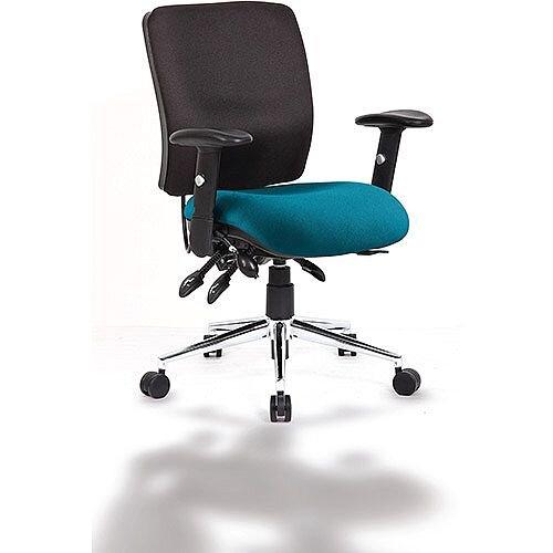 Chiro Medium Back Task Operator Office Chair Black Back &Kingfisher Green Seat