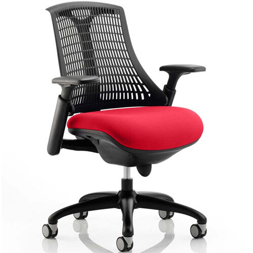 Flex Task Operator Office Chair Black Frame Black Back Cherry Red Seat