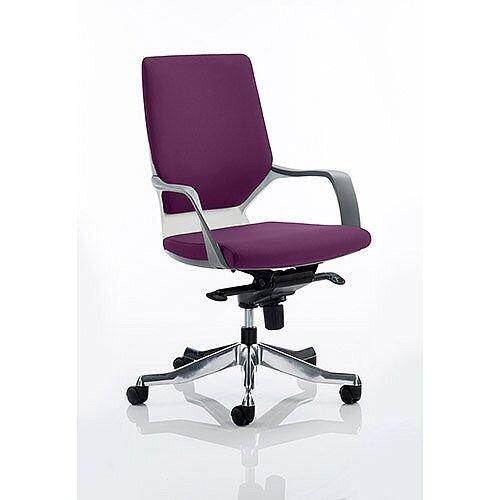 Xenon Executive Office Chair White Frame Medium Back Purple Seat