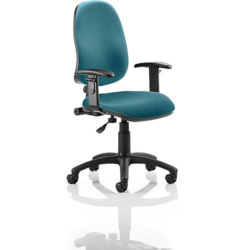 Eclipse I Lever Task Operator Office Chair With Height Adjustable Arms In Kingfisher Green