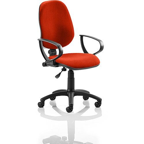 Eclipse I Lever Task Operator Office Chair With Loop Arms In Pimento Rustic Orange