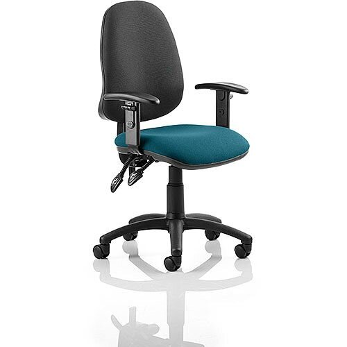 Eclipse II Lever Task Operator Office Chair With Height Adjustable Arms Black Back Kingfisher Green Seat